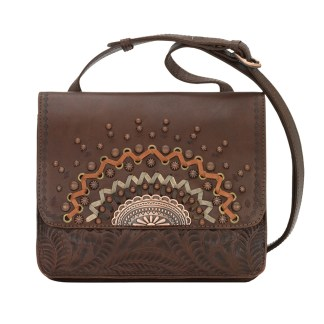 American West Leather Cross Body Handbag-Bella Luna -Chestnut Brown