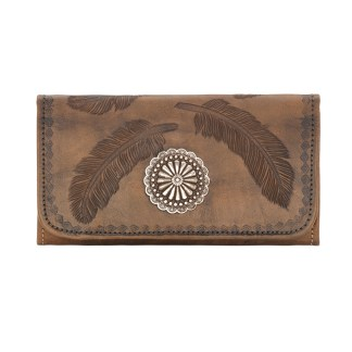 American West Leather Ladies' Tri-Fold French Wallet -Sacret Bird -Charcoal Brown