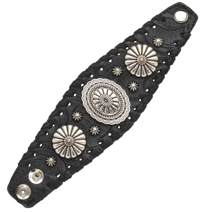 """American West Handmade Tooled Leather Cuff Bracelet 2.5"""", Oval Concho"""