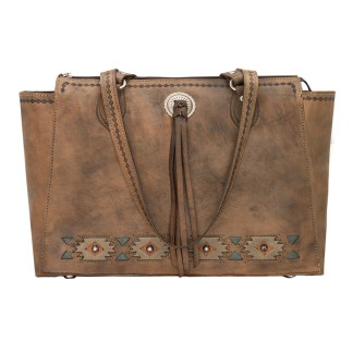 American West Leather Handbag- Zip Top Tote - Native Sun Concealed Carry - Charcoal