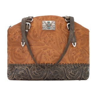 American West Leather Handbag- Half Moon Tote - Annie's Secret Consealed Carry - Golden C-Out