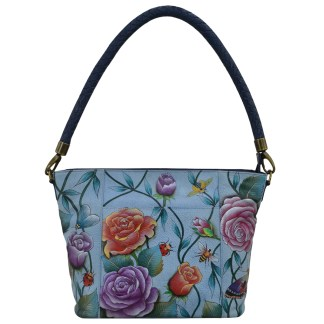 Anuschka Medium Hobo- Hand Painted Real Leather Handbag Roses D'amour