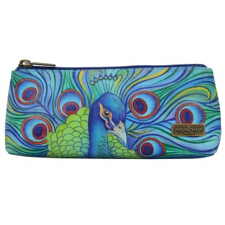 Anuschka Genuine Handpainted Leather Cosmetic Case Wallet Pouch Jeweled Plum