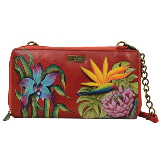 Anuschka Genuine Handpainted Leather Clutch Wallet Crossbody Islan Escape