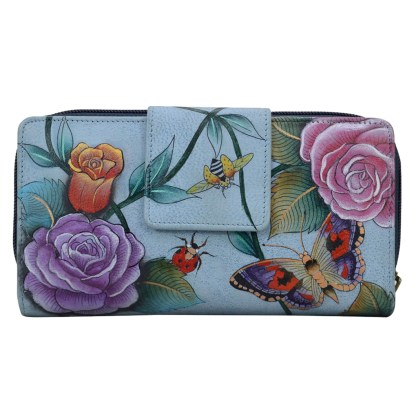 Anuschka Two Fold Organizer Wallet Flap & Zip Hand Painted Genuine Leather Roses D'amour