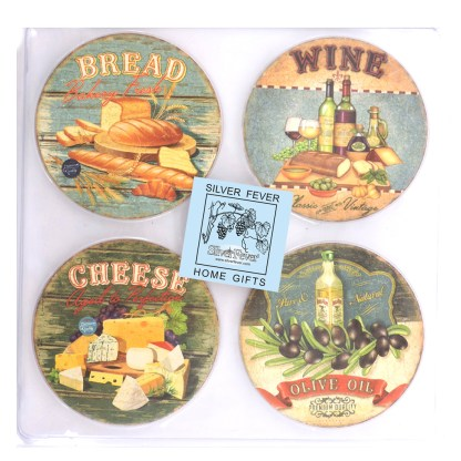Tumbled Tile Coasters Set of 4-Silver Fever- Coffee Cup Drinks Wine - Cork Back Non-Slip Coaster -Bread Chease Wine