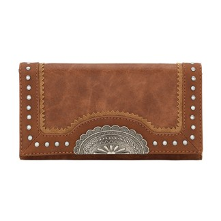 American West Bandana Ladies By-Fold Wallet Copper Guns & Roses