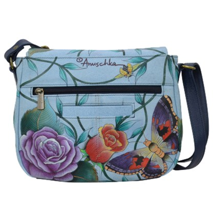 Anuschka Leather Medium Convertible - Flap Over Shoulder Handbag -Hand Painted Roses D'amour