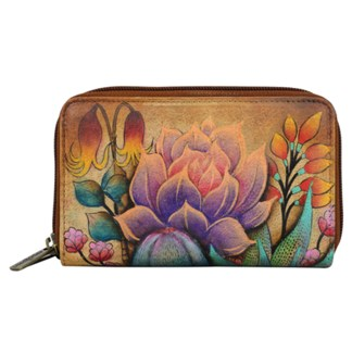 Anuschka Twin Zip Around Organizer Wallet Hand Painted Leather Desert Sunset