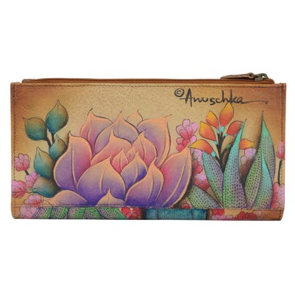 Anuschka Two Fold Organizer Wallet Snap & Zip Hand Painted Genuine Leather Desert Sunset