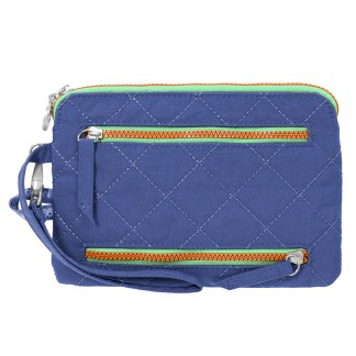 Baggallini RFID Pasport Case & Currency Organizer Wallet Wristlet Royal Blue/Mint