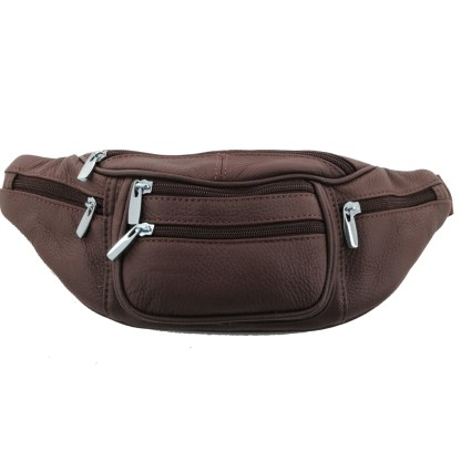 Silver Fever Genuine Leather Fanny Pack Waist Bag Phone Holder Brown