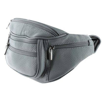 Silver Fever Genuine Leather Fanny Pack Waist Bag Phone Holder Grey