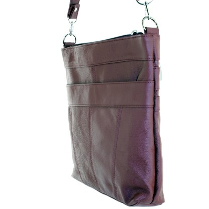 Silver Fever Leather Messenger Shoulder Cross Body Bag Ipad Compatible Unisex Wine