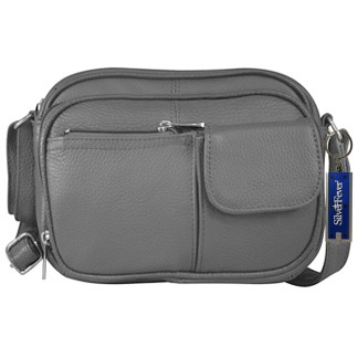 Silver Fever® Genuine Leather  French Kiss Cross Body Organizer Bag Grey