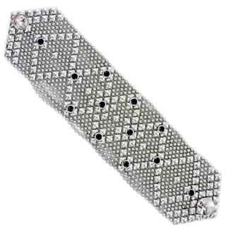 Sergio Gutierrez Liquid Metal Wide Dimond Bracelet Black CZ Studded
