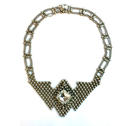 "Sergio Gutierrez Liquid Metal Tussle Bib Necklace 17"" L"