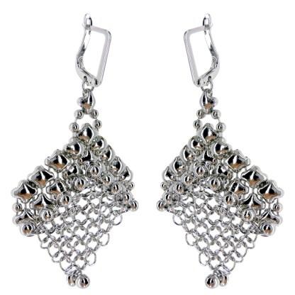 "Sergio Gutierrez Liquid Metal Earrings Chainmail Mesh 2 1/2""L"