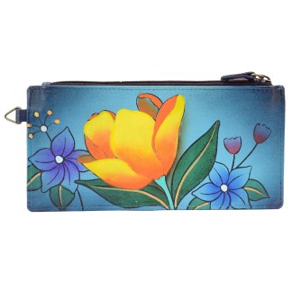 Anna by Anuschka Leather Ladies Organizer Wallet  - Floral Garden Denim