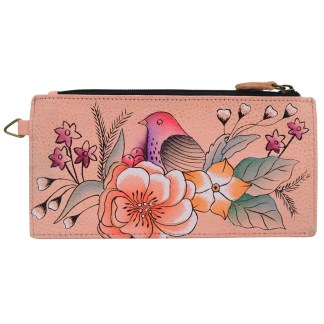 Anna by Anuschka Leather Ladies Organizer Wallet  - Vintage Garden