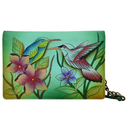 Anna by Anuschka Leather Two Fold Walet on String - Birds in Paradise Green