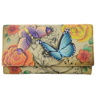 Anna by Anuschka Leather Try Fold Organizer Wallet - Floral Paradise Tan