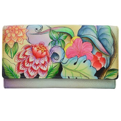 Anna by Anuschka Leather Try Fold Organizer Wallet - Whimsical Garden