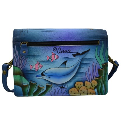 Anna by Anuschka Leather Flap Organizer CB - Playfull Dolphin