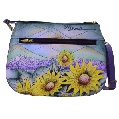 Anna by Anuschka Leather Crossbody Bag 3 Compartments - Hills Of Tuscany