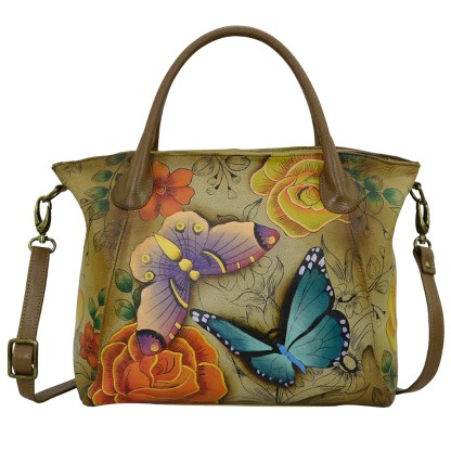 Anna by Anuschka Leather Slouch Tote - Floral Paradise Tan