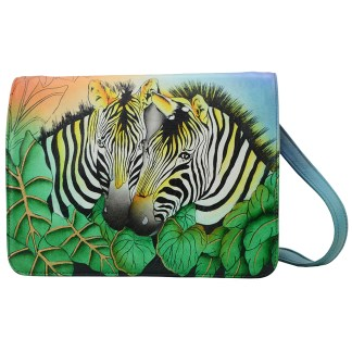 Anna by Anuschka Leather Medium Saddle Bag - Zebra Safari