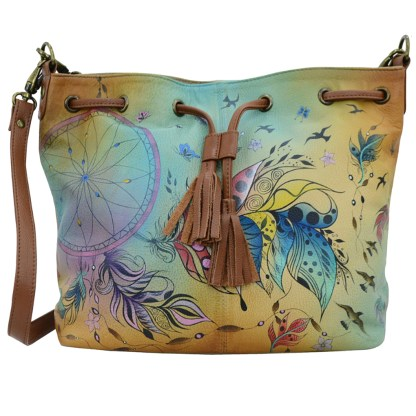 Anna by Anuschka Leather Large Drawstring Satchel - Sweet Dreams