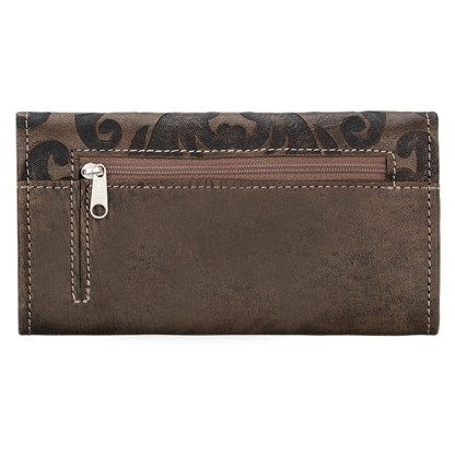 American West Leather Ladies' Tri-Fold French Wallet  Distressed Charcoal Brown Baroque