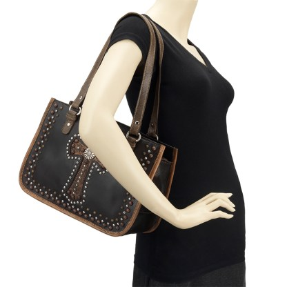 American West Leather Tote - Multi Compartment Carry on Bag -  Charcoal - Las Cruces