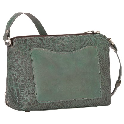 American West Leather Cross Body  Handbag -  Turquoise-Dove Canyon