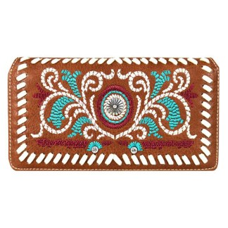 Montana West Clutch Style Secretary Wristlet Wallet Brown Embroidered w Daisy Concho