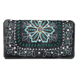 Montana West Clutch Style Secretary Wristlet Wallet Black Cut Out Floral