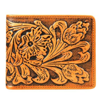 Montana West Genuine Leather Tooled Men's Wallet Tan Floral w charger cors