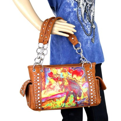 Montana West Western Bling Collection Satchel Handbag Black Rodeo Art Concealed Carry