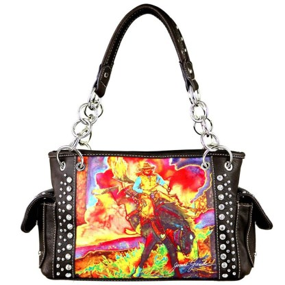 Montana West Western Bling Collection Satchel Handbag  Coffee Rodeo Art Concealed Carry