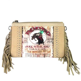 Montana West Genuine Leather Clutch Handbag Cowboy Pictures Tan Rodeo Collection 3