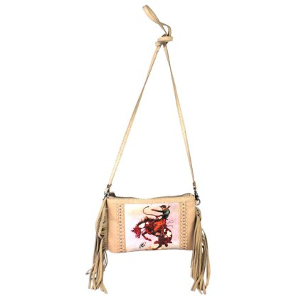 Montana West Genuine Leather Clutch Handbag Cowboy Pictures Tan Rodeo Collection 6