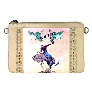 Montana West Genuine Leather Clutch Handbag Cowboy Pictures Tan Rodeo Collection 8