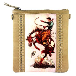 Montana West Genuine Leather Handcrafted Crossbody Handbag Tan Rodeo Collection 2
