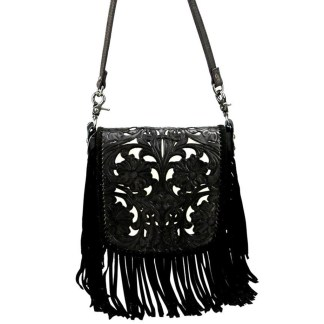 Montana West Genuine Leather Handcrafted Crossbody Handbag Black Tooled Fringe