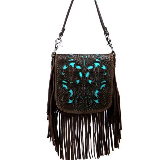 Montana West Genuine Leather Handcrafted Crossbody Handbag Coffee Tooled Fringe