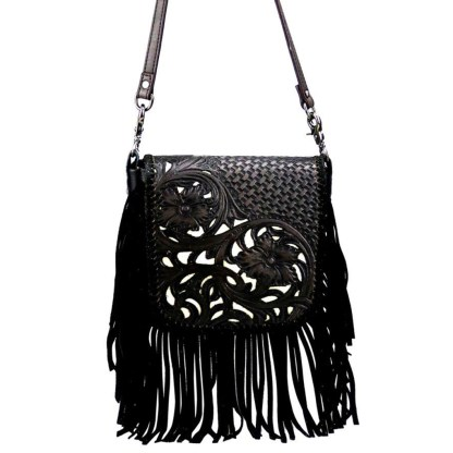 Montana West Genuine Leather Handcrafted Crossbody Handbag Black Tooled w Inlay & Fringe