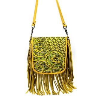 Montana West Genuine Leather Handcrafted Crossbody Handbag Yellow Tooled w Inlay & Fringe