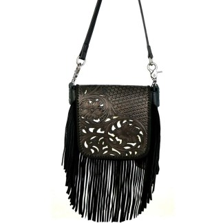 Montana West Genuine Leather Handcrafted Crossbody Handbag Black Tooled w Inlay Fringe & Charger