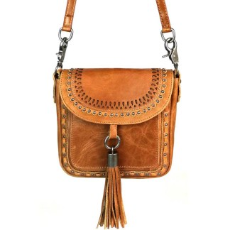 Montana West Genuine Leather Handcrafted Crossbody Handbag Brown Flap w Tussle